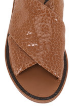 Brunello Cucinelli - Light Brown Textured Leather Criss-Cross Sandal