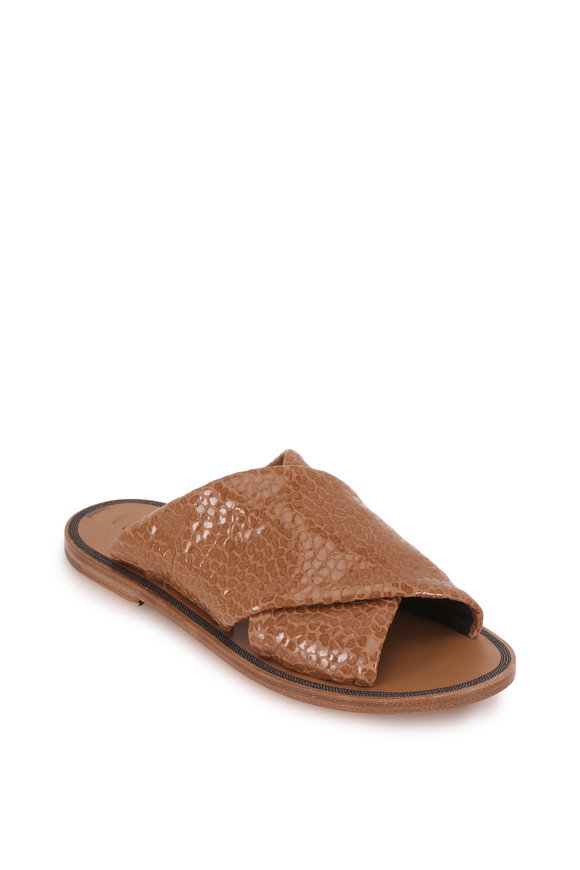Brunello Cucinelli Light Brown Textured Leather Criss-Cross Sandal