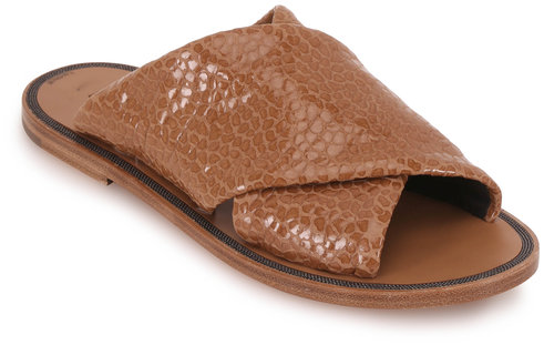 Brunello Cucinelli Light Brown Textured Leather Criss-Cross Sandal