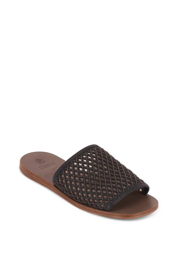 Brunello Cucinelli Black Leather Monili Net Slide