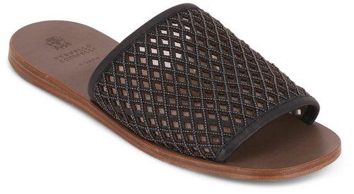 Brunello Cucinelli Black Leather Monili Net Slide