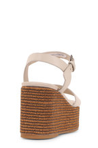 Brunello Cucinelli - Rice Leather Monili Striped Wedge Sandal, 80mm