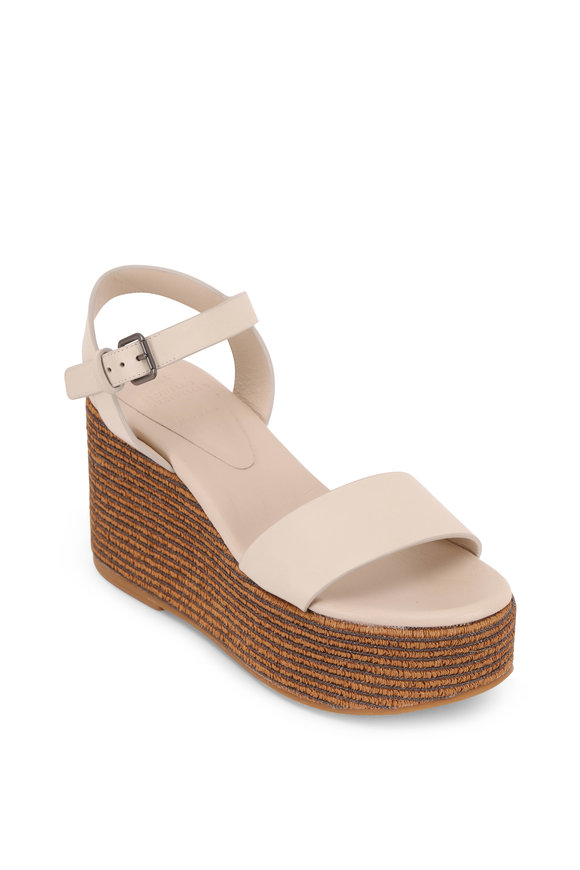 Brunello Cucinelli Rice Leather Monili Striped Wedge Sandal, 80mm
