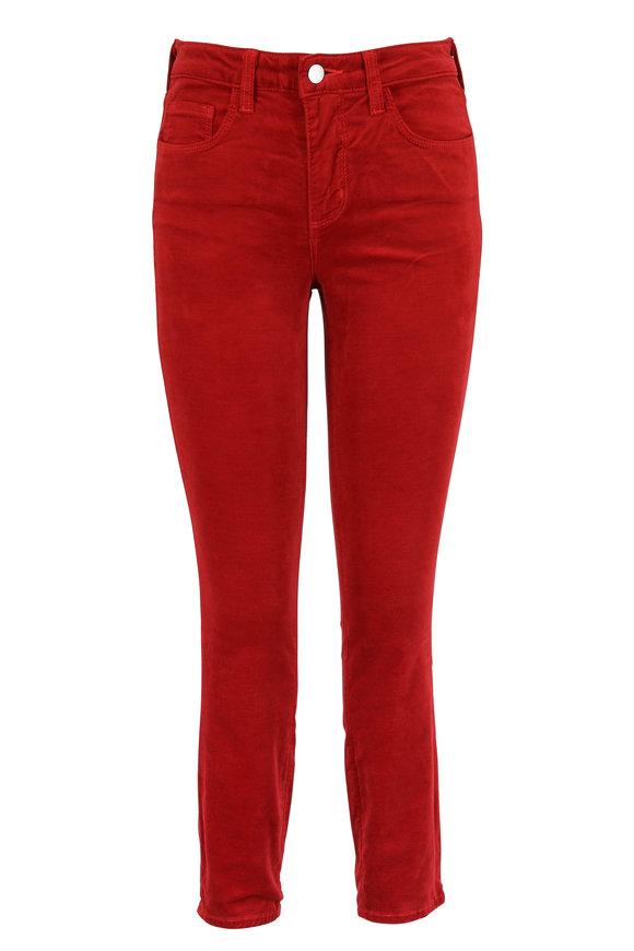 L'Agence Margot Red Velvet High-Rise Skinny Jean