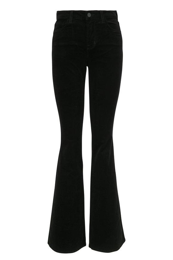 L'Agence Bell Black Velvet High-Rise Flare Jean
