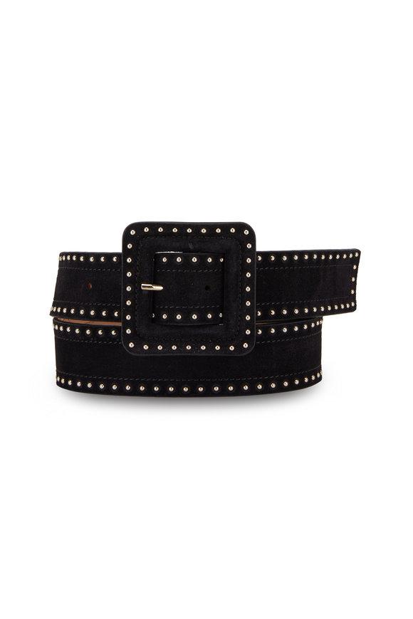 Veronica Beard Aluma Black Suede Mini Studs Belt