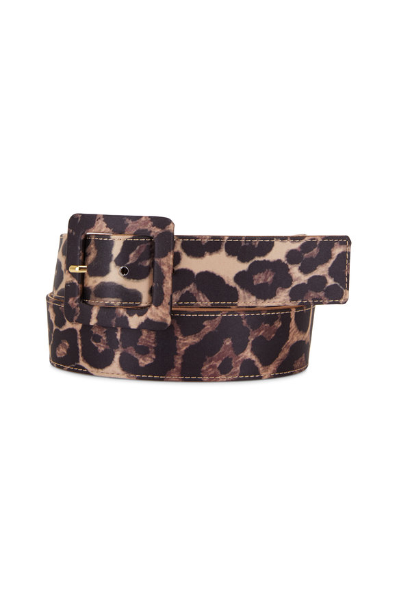 Veronica Beard Aluma Leopard Print Satin Belt