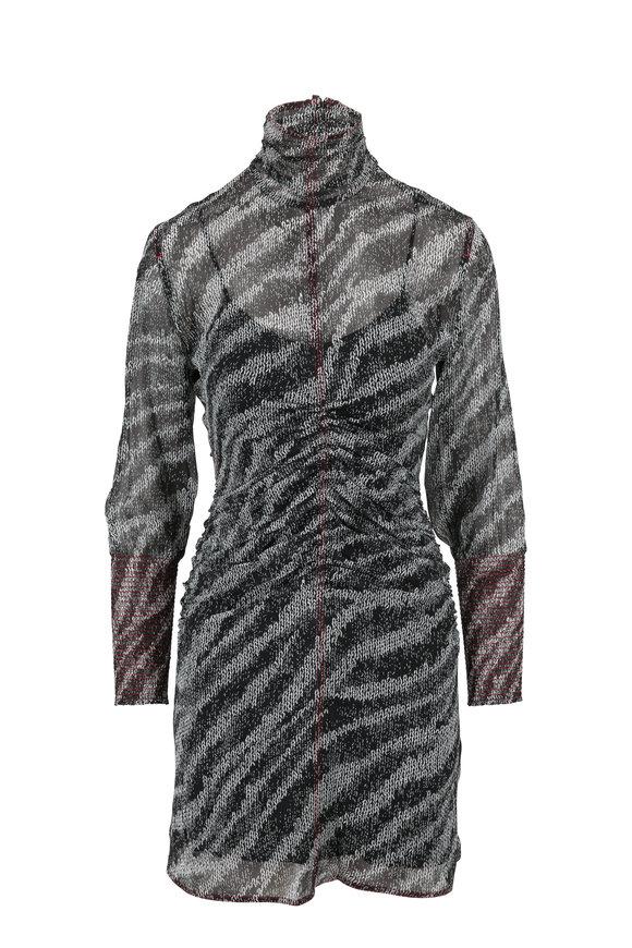 Rag & Bone Maris Black Multi Silk Long Sleeve Mini Dress