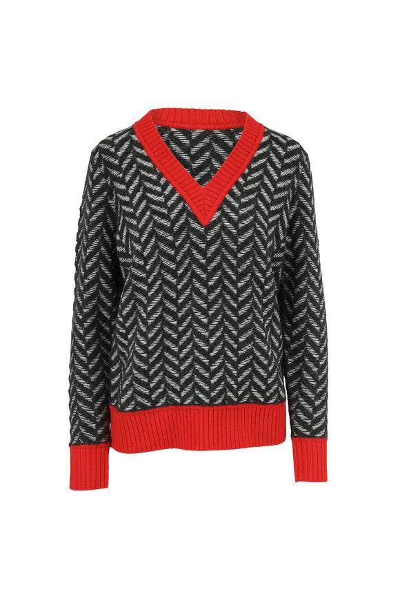 Rag & Bone Biata Black & Red Trim Chevron Sweater