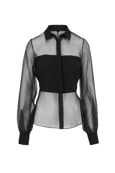 Cushnie - Black Organza Sheer Blouse