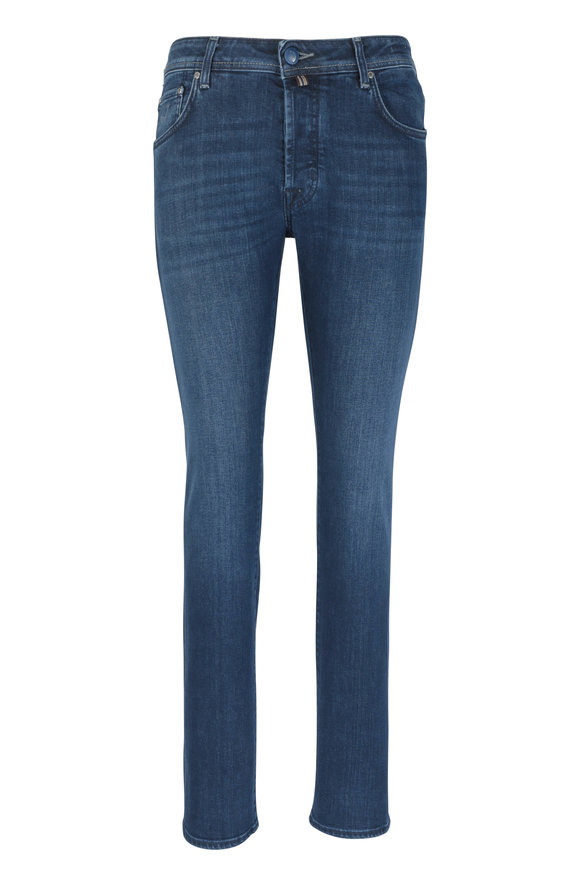 Jacob Cohen  Medium Blue Rinsed Five Pocket Jean