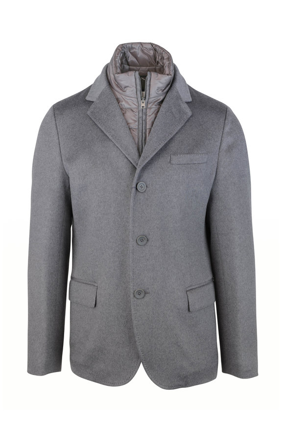 Herno Gray Cashmere Removable Dickey Blazer