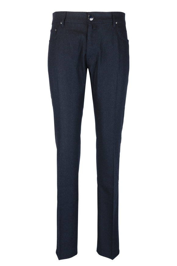 Jacob Cohen  Navy Blue Brushed Wool Jean