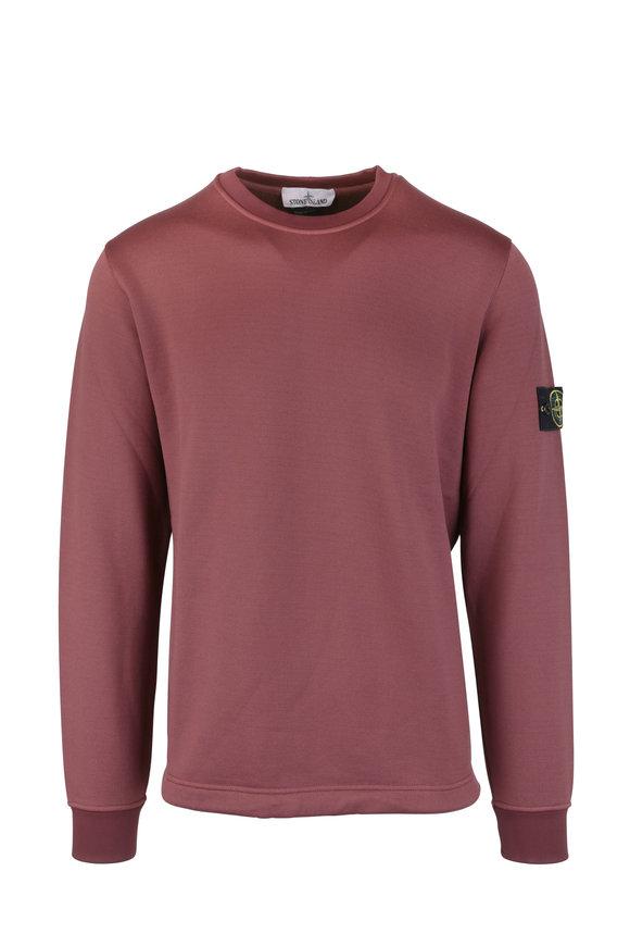 Stone Island Burgundy Nylon Fleece Crewneck Sweatshirt