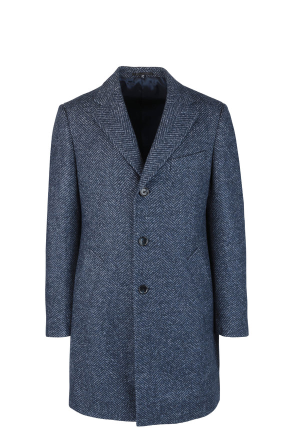 Atelier Munro Slate Blue Wool Blend Herringbone Overcoat