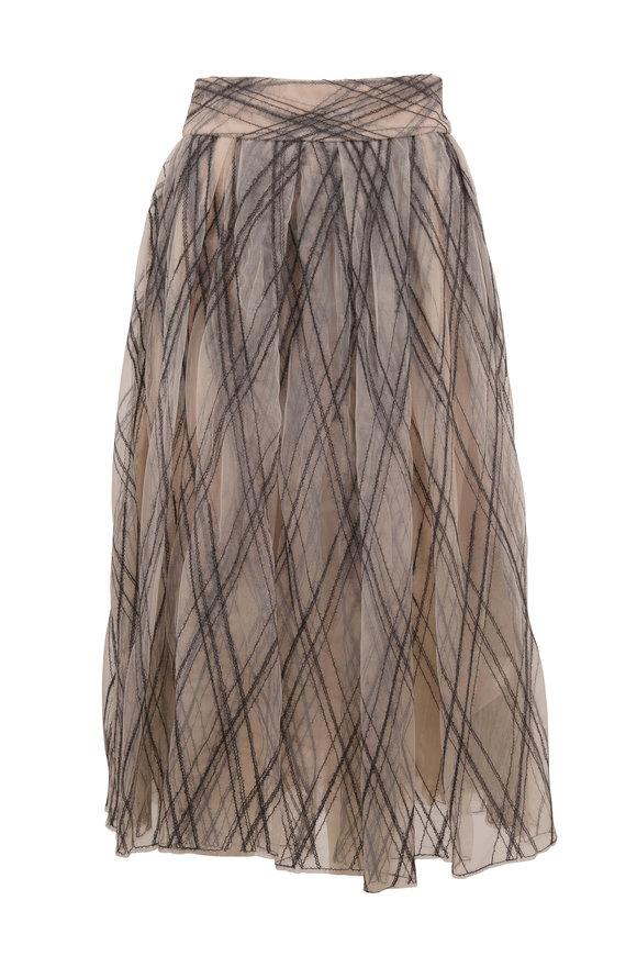 Brunello Cucinelli Oat Tulle Diamond Embroidered Midi Skirt