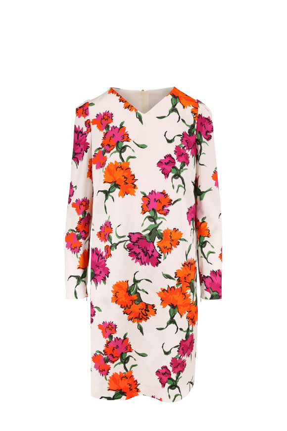Escada Dleah Fantasy Floral Print Long Sleeve Dress