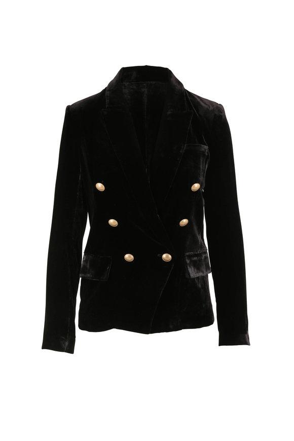 L'Agence Kenzie Black Velvet Double-Breasted Blazer