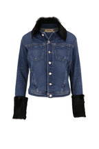 L'Agence - Shea Salem Shearling Trim Denim Jacket