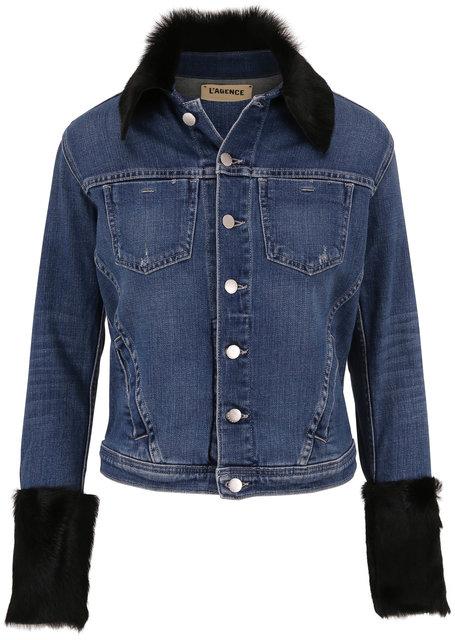 L'Agence Shea Salem Shearling Trim Denim Jacket