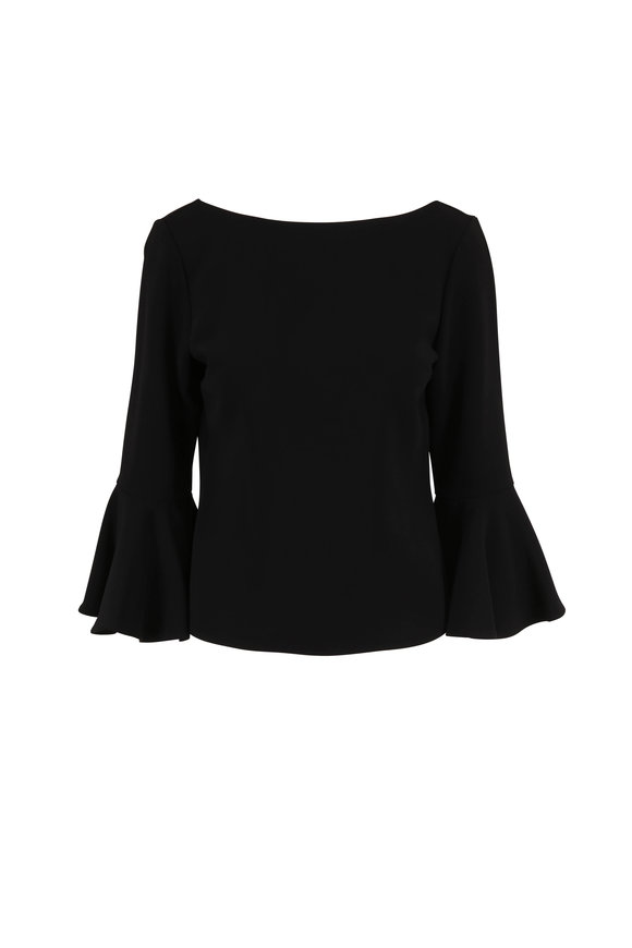 Carolina Herrera Black Bell Sleeve Blouse