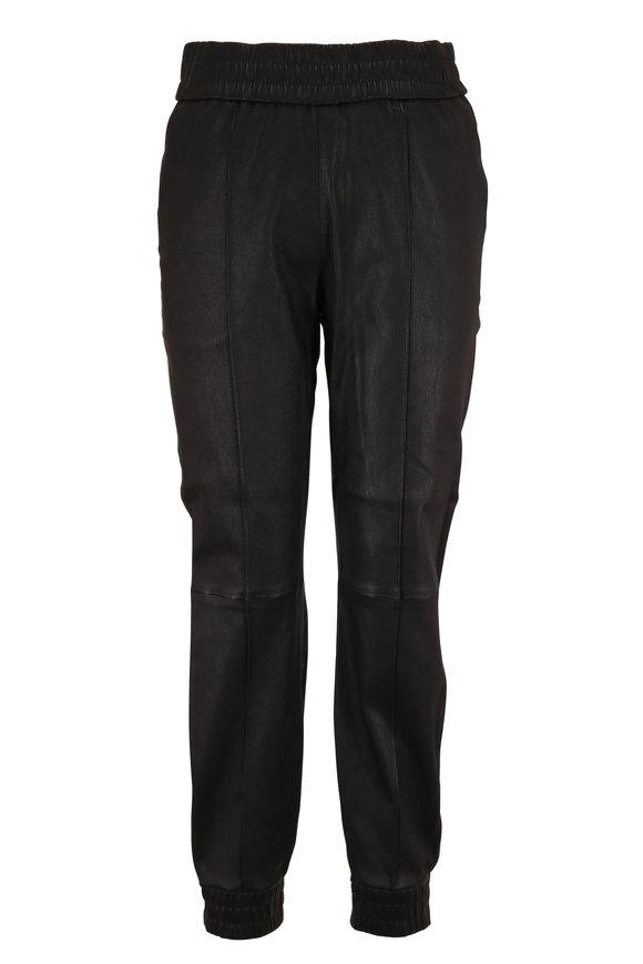 SPRWMN LLC Black & Gold Athletic Striped Leather Jogger