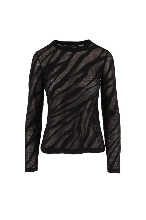 Rag & Bone Valencia Zebra Black Burnout Long Sleeve Top