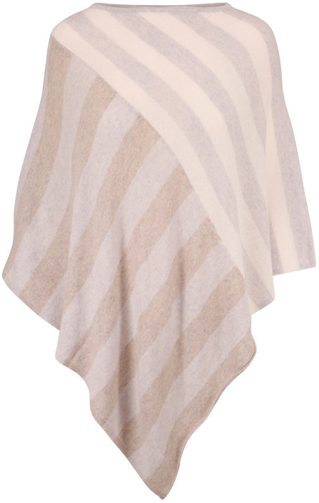 Kinross Bianco Multi Diagonal Striped Cashmere Poncho