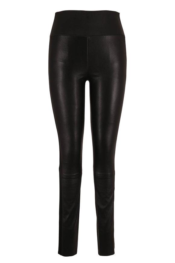 SPRWMN LLC Black Tux Striped Leather Legging