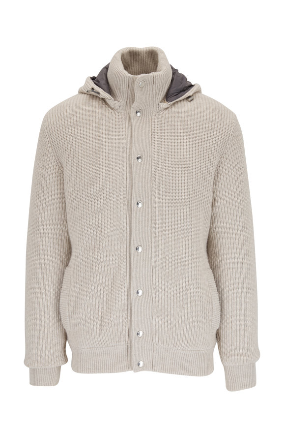 Brunello Cucinelli Beige Cashmere Knit Outerwear Hooded Jacket