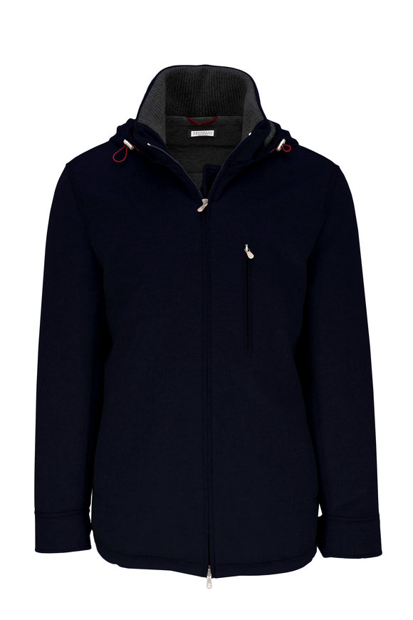Brunello Cucinelli Navy Water-Resistant Cashmere Hooded Parka