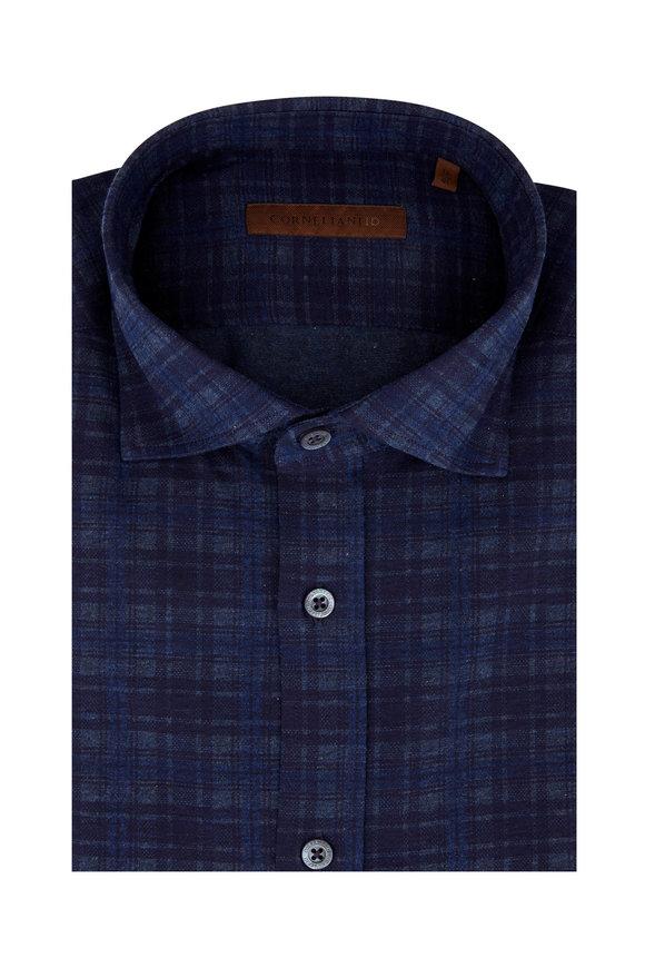 Corneliani Navy Blue Tonal Check Knit Sport Shirt