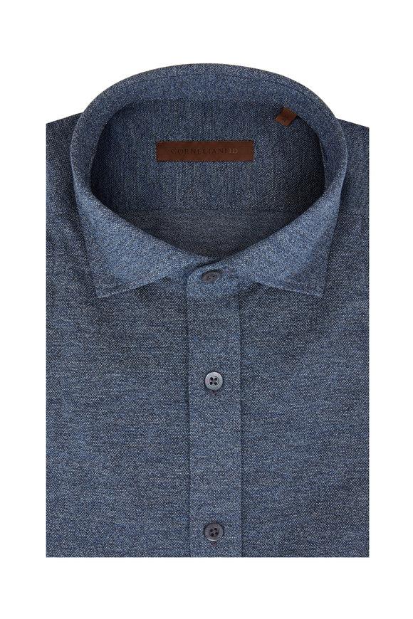 Corneliani Flecked Blue Piqué Jersey Knit Sport Shirt