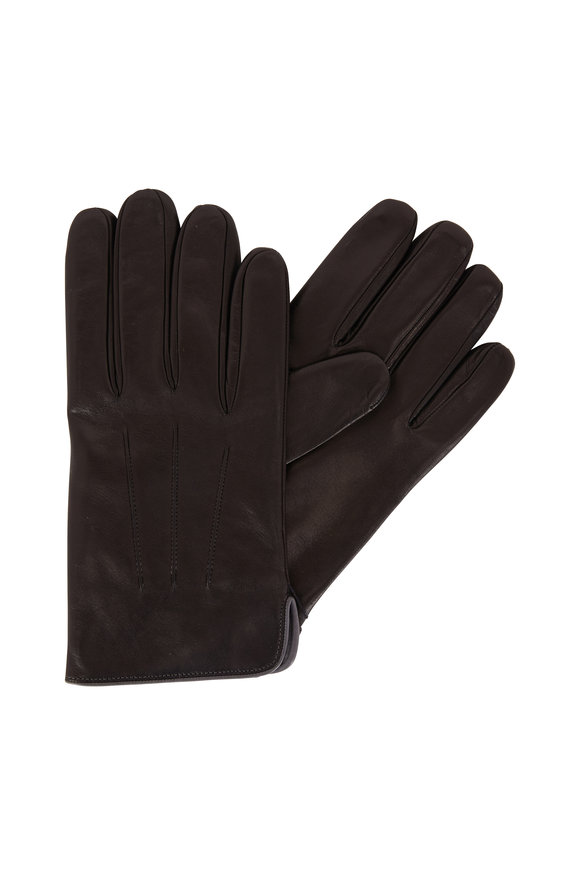 Portolano Black Leather & Gray Cashmere Gloves