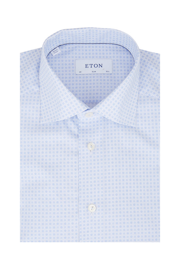 Eton Light Blue Micro Tile Slim Fit Dress Shirt