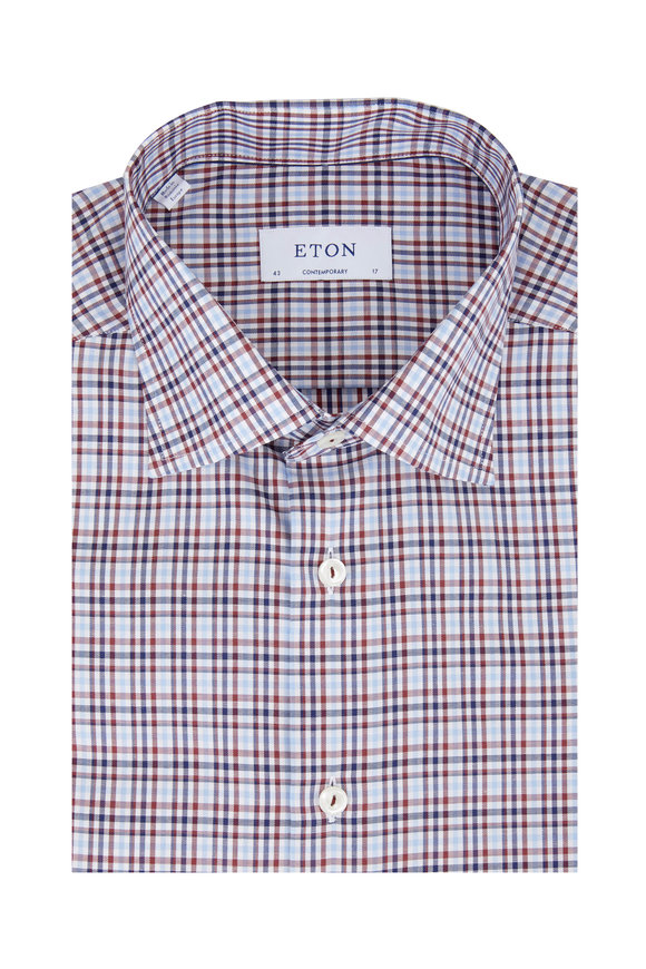Eton Navy Blue Plaid Contemporary Dress Shirt