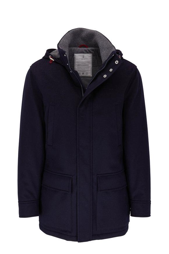 Brunello Cucinelli Navy Blue Cashmere Coat