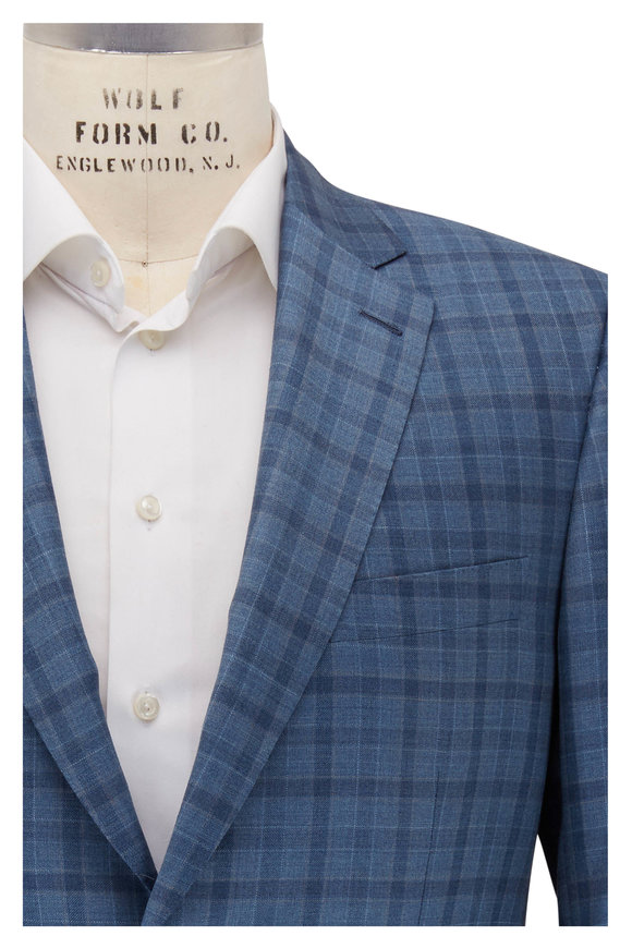 Brioni Light Blue Plaid Wool Sportcoat