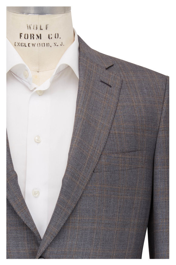 Brioni Gray & Tan Plaid Wool Suit