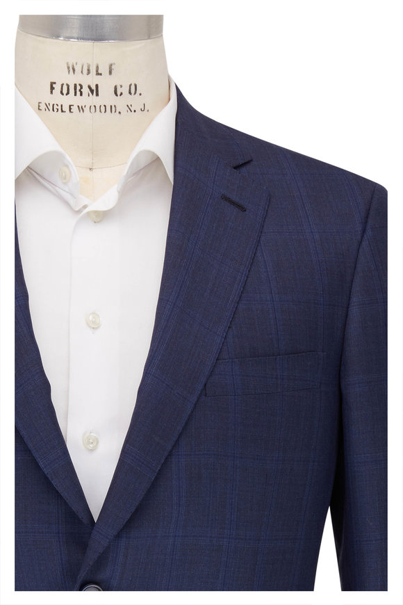 Brioni Slate Blue Windowpane Wool Blend Suit