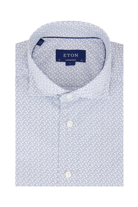 Eton Light Blue Circle Contemporary Fit Sport Shirt