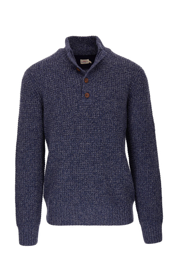 Faherty Brand Navy Cashmere Stretch Wool Quarter-Button Pullover