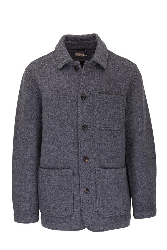 Faherty Brand Chore Gray Stretch Wool Coat