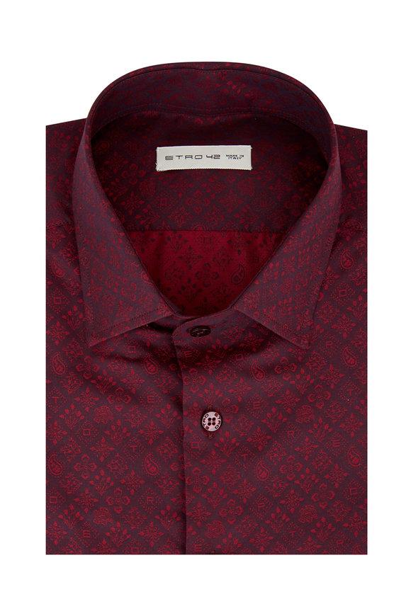 Etro Burgundy Paisley Sport Shirt