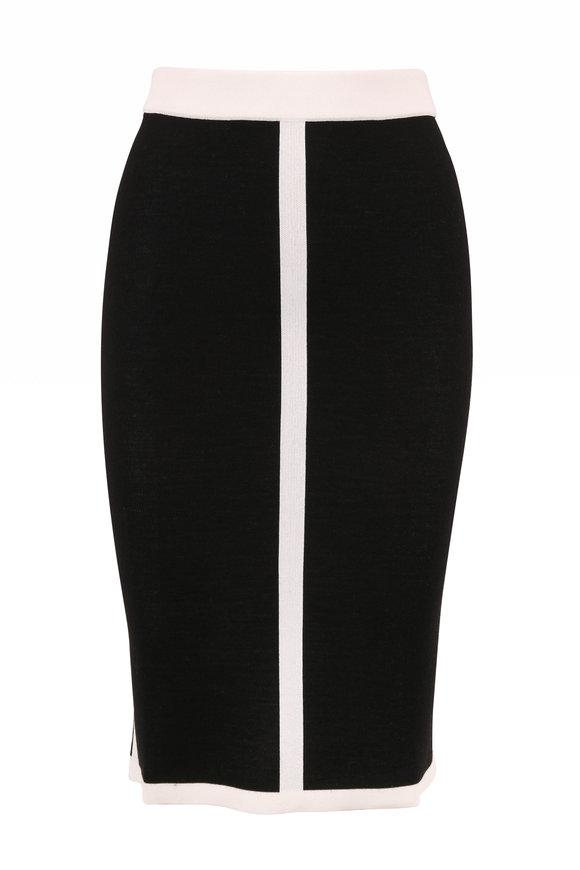Escada Rajona Black & White Tipped Knit Skirt