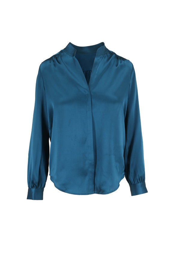 L'Agence Bianca Teal Silk Banded Collar Blouse