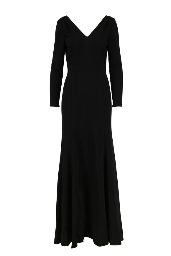 Carolina Herrera Black V-Neck Long Sleeve Trumpet Gown