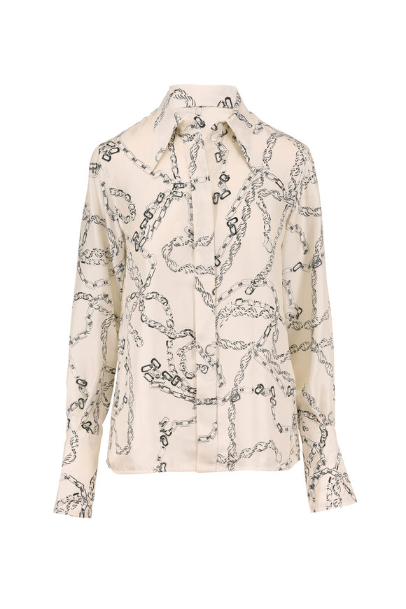 Victoria Beckham Cream & Dark Green Chain Print Twill Shirt