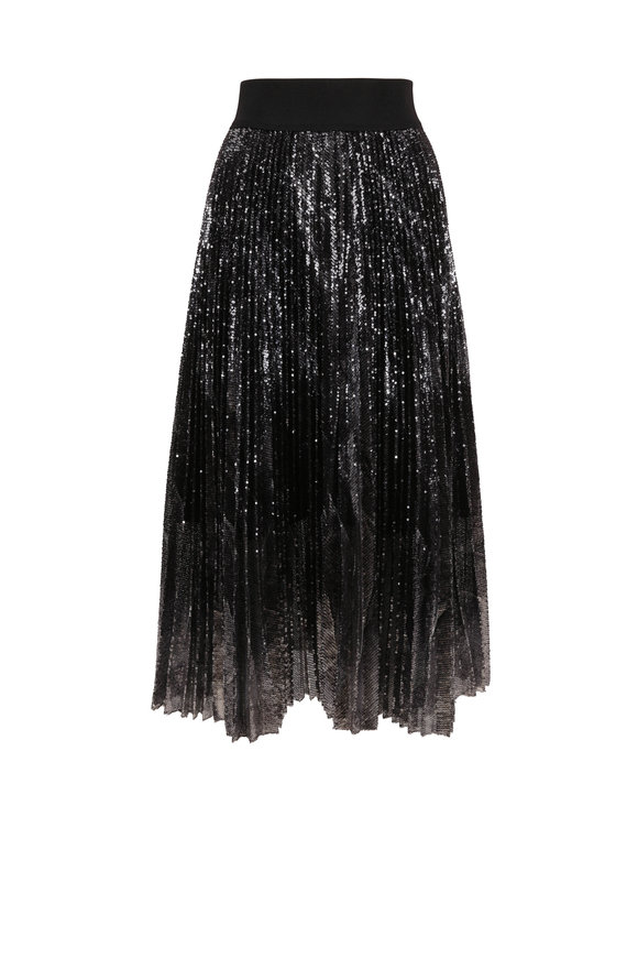 Dorothee Schumacher Black Sparkle Sequin Pleated Skirt