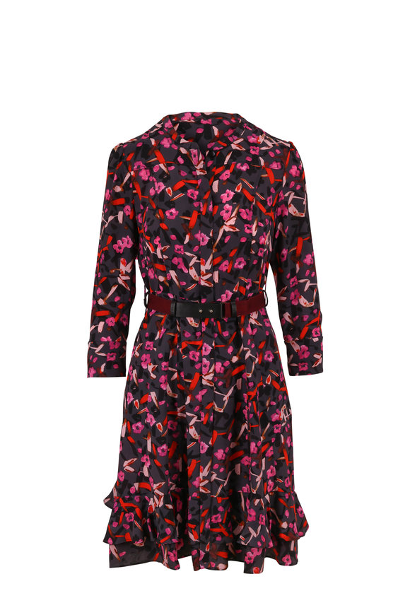 Dorothee Schumacher Abstract Gray Floral Three-Quarter Sleeve Dress